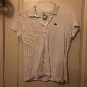 White Lacoste collard shirt